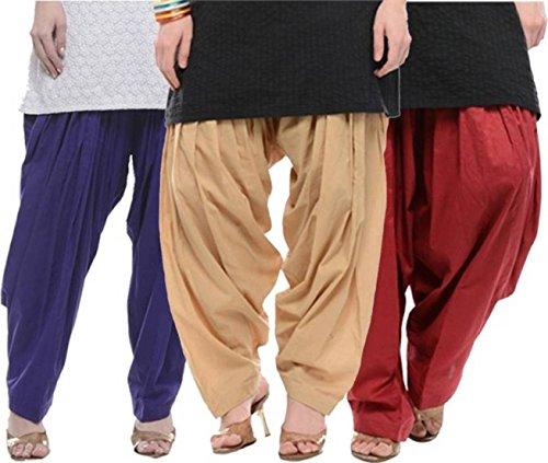 I Shop Traditional Patiala Salwar 100% Cotton Free Size (BLUE_BEIGE_MEH)
