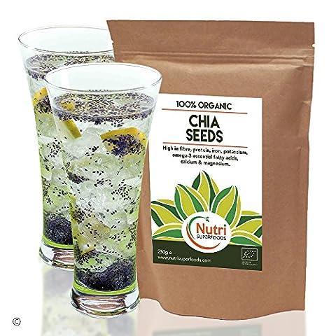 CHIA SAMEN, Rohe organische, Hervorragend Vegan Pflanzeneiweiß,