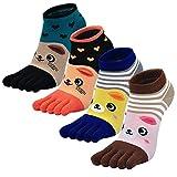 PUTUO Mujer cinco calcetines de los dedos, Algodón Calcetines de Animales Lindos para Mujer Calcetines de Divertidos Ocasionales, 4 pares