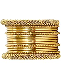 JDX Traditional Wedding Gold-Plated Bangles Bracelets Set For Women And Girls