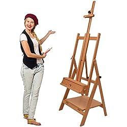 Artina Chevalet d'atelier Professionnel « Napoli » - Stable - Facile à Monter - en Bois de Hêtre - Hauteur: 180cm