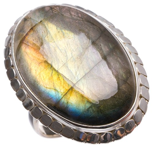 stargems (TM) natur Top Qualität Blau Fire Labradorit handgefertigt Indian 925Sterling Silber Ring, UK-Größe (Australian Outfit)
