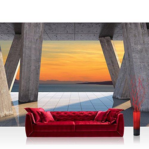 Vlies Fototapete 416x254cm PREMIUM PLUS Wand Foto Tapete Wand Bild Vliestapete - Sonnenuntergang Tapete Terrasse Fliesen Meer Berge Sonnentuntergang Schatten grau - no. 1427 - Sonnenuntergang Terrasse