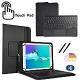 Deutsche Tastatur Touchpad Hülle für NINETEC Ultratab 10 Pro | Plus Touch Wireless Bluetooth Deutsch Tastatur + Tablet Schutzhülle - 10.1 TP Schwarz