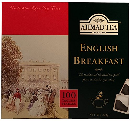 English Breakfast Tee-set (Ahmad Tea- English Breakfast 100 St. Schwarztee-Beutel á 2 Gramm ohne Band)
