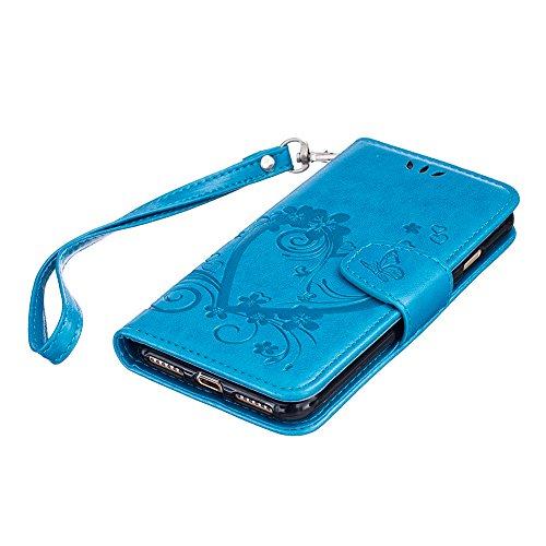 iPhone 7 4.7 Zoll Hülle Strap PU Lederhülle Flip Case,iPhone 7 4.7 Zoll [Braun Einfarbig Entwurf] Magnetverschluss Leder Folio Tragetasche Hülle,Herzzer Prämie Elegant Ultra Dünn [Liebe Herzen Blumen  Blau