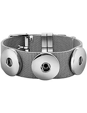 ANDANTE Edelstahl ARMBAND für 3 Chunks Click-Buttons Druckknöpfe (längenverstellbar)