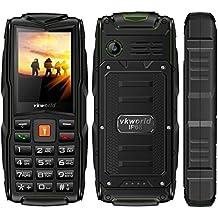 VKworld Stone V3 la más nueva versión IP68 impermeable a prueba de choques a prueba de polvo Teléfono celular al aire libre teléfono móvil Tri-sim teléfono para mayor Senior batería grande tiempo de espera con luces LED más extra 8GB tarjeta de memoria, verde