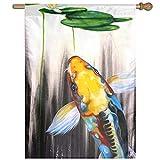 Dozili Flagge Schwimmfische Hausdekoration Gartenflagge wetterfest & doppelseitig Hofflagge, Polyester, bunt, 12.5