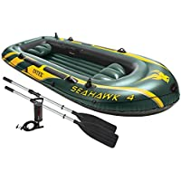 Intex 68351 - Canotto Seahawk 4 Set, 351 x 145 x 48 cm, Verde/Giallo