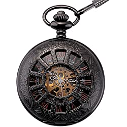 ManChDa® Mens Vintage Black Mechanical Pocket Watch Elegant Engraved Hollow Case Roman Numerals Golden Movement with Chain + Gift Box