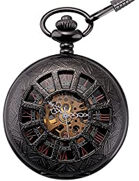 ManChDa® Hombres Vintage Negro Mecánica Reloj de bolsillo Elegante Grabado Caso de hueco Números Romanos Movimiento de oro con Cadena + Caja de regalo