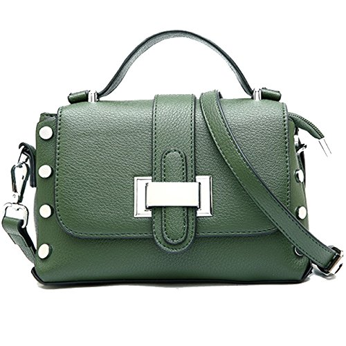 RCXOO Frauen-Niet-Umhängetasche PU-Umschlag-Handtaschen-Metallschulterbeutel-Retro- Dame Bag Designer Shopping Business,Green-11*14*21CM