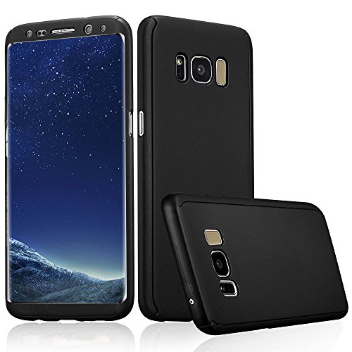 Xelcoy® 360 Degree Full Body Protection Front & Back Slim Hybrid Case Cover With Screen Protector for Samsung Galaxy S8 Plus- Black