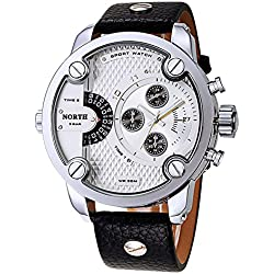 Fashion Big Face Men Quartz Watch Luxury Leather Strap Small Decorative Dial Waterproofue Casual Wristwatch,White