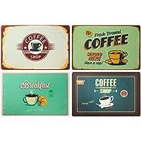 Ootb - Juego de 4 manteles individuales, 43 x 28 cm, plástico, lavables, diseño retro de café
