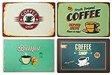 OOTB 4er Tischset: Coffee Retro Look Frühstück Kaffee Retroschild Coffee Shop - Tisch Matten/Platzdeckchen/Tischunterlage/Essunterlage/Platzset aus Kunststoff abwaschbar 43 x 28 cm