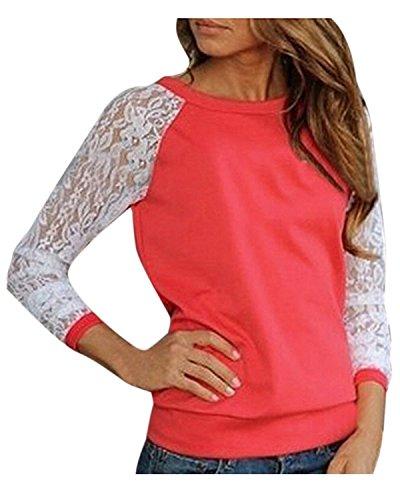 All-star Langarm-t-shirt (Minetom Sexy Damen Langarm T-Shirts Mit Spitze Blumen Tops Oberteil OL Hemd Pullover ( Rot DE 38 ))