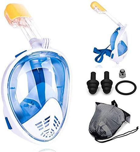 ASPORT Schnorcheln und Tauchen Maske, 180 ° Panorama-Blicktaucherbrille mit Tätigkeits-Kamera Montage, Full Face Santi-Fog Anti-Leak Schnorchel-Set for Erwachsene/Kinder (Color : Blue, Size : S/M)