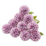 JUSTOYOU Artificial Seda Flores Falsas Diente de León Hortensia Bouquet Floral para Boda, Fiesta de cumpleaños, Decoración del hogar(Purple,10pcs)