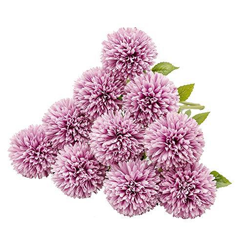 Justoyou seta artificiale fiori finti dente di leone ortensia floreale bouquet per matrimoni, festa di compleanno, decorazione della casa(viola, 10pcs)