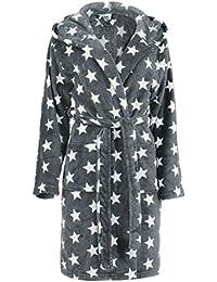 Brandsseller Damen Bademantel mit Sternen - in den Größen: S/M - L/XL - in der Farben: Anthrazit/Weiß