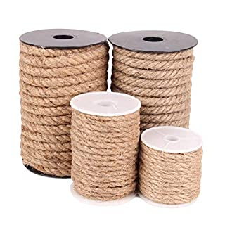 AOJSI 100% Natural Hemp |Natural Jute Twine|Crafts Gift Jute Twine Packing Industrial Twine Materials Durable Retro|Lighting Hemp Rope (Color : Yellow, Size : 6mmx100m)