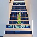 Treppenaufkleber licht Kiefernwald Weihnachten Verkleiden Sich Treppenaufkleber Treppen Dekorative Wandaufkleber 18CM*100CM * 13 Teile/Set