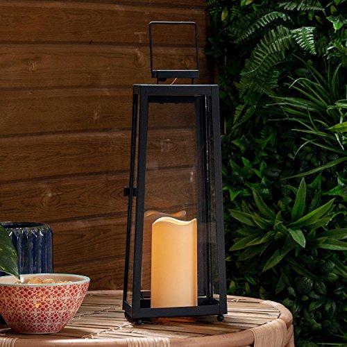 Lights4fun Grande Lanterne Solaire Noire en Métal avec Bougie LED pour Jardin 40cm