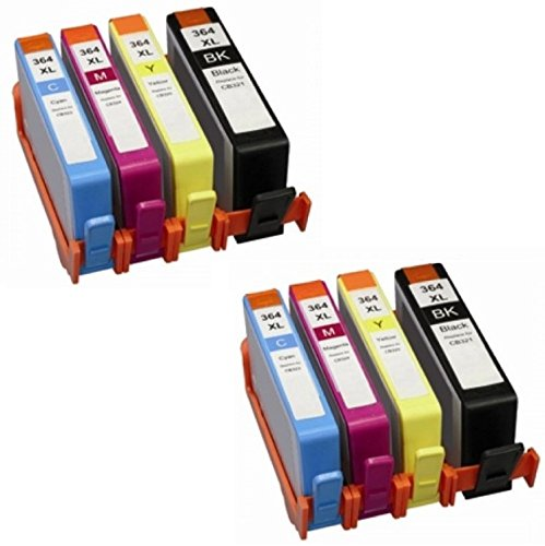 Prestige cartridge compatibile hp 364xl cartucce d'inchiostro per stampanti hp deskjet/officejet/photosmart serie, 8 pezzi, nero/ciano/magenta/giallo