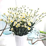 Clearance!!! Super Beautiful Artificial Silk Fake Flowers Small Daisy Wedding Coffee Birthday Party Bouquet Home Decor (White)