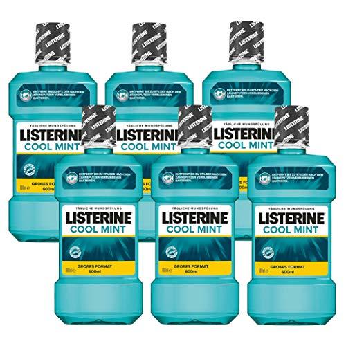 Listerine Cool Mint Antibakterielle Mundspülung (mit frischem Minzgeschmack, für gesunde Zähne) 6er Pack (6 x 600 ml) (Listerine Atem Spray)