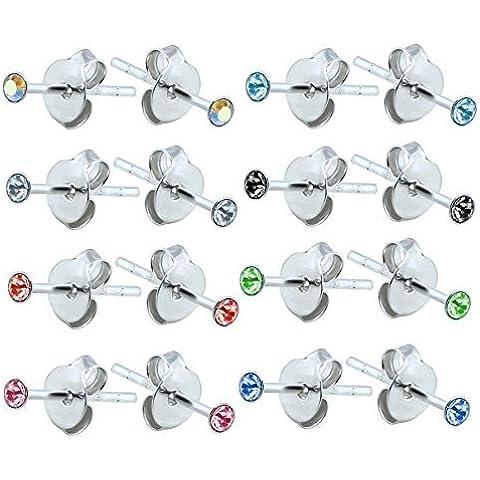 Unidades 8 pares de tamaño XS (tiny) redondo de plata de ley Juego de pendientes de floral con piedras de cristal - con caja de regalo