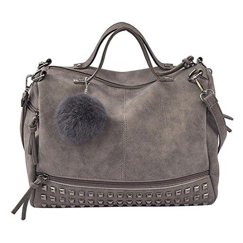 Handtasche Damen Btruely Mädchen Schulter Messenger Taschen Vintage Groß Tasche Damen Leder Umhängetasche (Grau) (Schulter Tote Sie Überprüfen)
