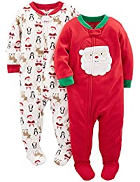 Simple Joys by Carter's 2-Pack Holiday Loose Fit Flame Resistant Fleece Footed Pajamas Mixte bébé, Lot de 2