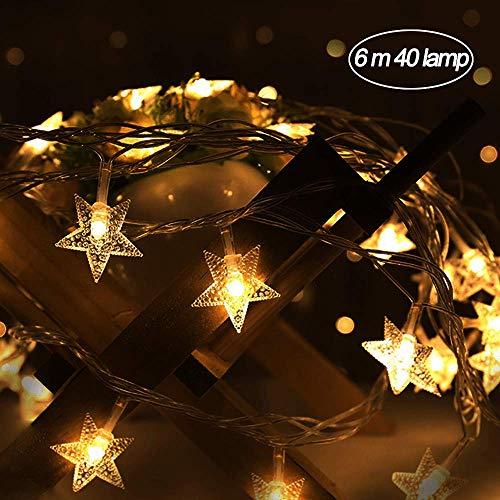 """LED-Lichterkette\""""Metallstern\"""", 40 warmweiße LEDs, goldene Sterne, Länge ca. 6 m, Timer, Batteriemodelle, für Kindergarten, Geburtstag, Wände, Urlaub, Dekoration [Energieklasse A +++] (Warmes gelb)"""