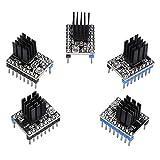PoPprint TMC2208 - Kit de controlador de motor paso a paso con disipador de calor TMC2100 DRV 8825 compatible con Ramps1.4 o MKS Board para impresora 3D (5 unidades)