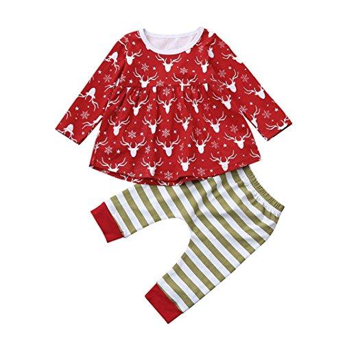 VENMO Baby Pyjama Hausanzug Sleepwear Weihnachten Nachtwäsche Familie Kleinkind-Säugling Baumwolle Oberbekleidung Pullover Deer Prinzessin Kleid Gestreifte Hose Weihnachtskleidung Set (100CM, Red) (Minnie Mouse Kapuzenjacke)