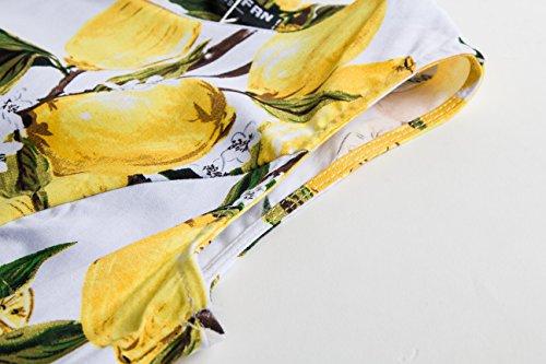 ASSKDAN Robe d'été Elegant Amincissant Imprimé Fleur du Soleil Col Rond Sans Manche Cocktail Plissé Robe Vert