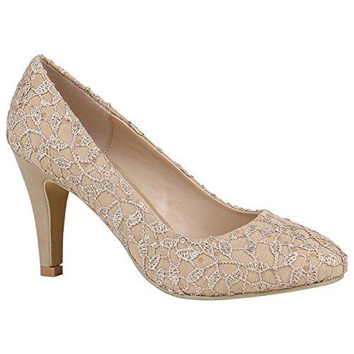 Stiefelparadies Klassische Damen Pumps Stiletto Absatz Abend Schuhe Leder-Optik 157194 Creme Stickereien 37 Flandell