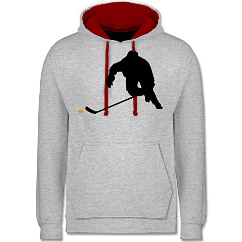 Shirtracer Eishockey - Eishockey Sprint - XL - Grau meliert/Rot - JH003 - Kontrast Hoodie -