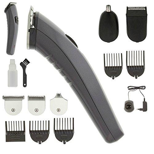 EQT-TEC Akku Titan Klingen Haarschneide Maschine Set + Aufsätze + Bart Rasierer + Nase Haar Trimmer