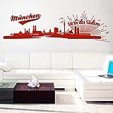Pixelstudio Wandtattoo München Skyline - Stern des Südens | Bayern Stadt Fußball Fan Schwarz 070 120 x 35 cm