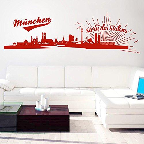 Skyline - Stern des Südens | Bayern Stadt Fußball Fan Rot 031 206 x 60 cm (Stadt Fußball)