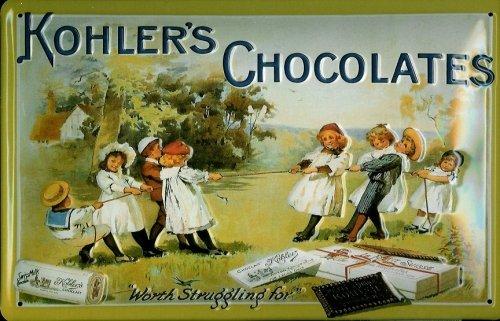 Blechschild Nostalgieschild Kohler`s Chocolates Kinder Schokolade Schild retro Reklame