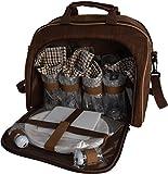 Picknicktasche inkl. Geschirr für 4 Personen und gr. Thermofach