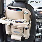 EYUVAA LABEL PU Leather Car Backseat Organizer with Foldable Dining Table Tray Waterproof Back Seat Storage Pockets with Tablet, Mobile, Bottle, Tissue Box and Umbrella Holder (Beige)