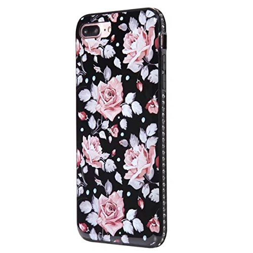 Hülle für iPhone 7 plus , Schutzhülle Für IPhone 7 Plus Blumen gedrucktes Muster weichen schwarzen TPU Gel Shell Stoßfänger Fall Fall ,hülle für iPhone 7 plus , case for iphone 7 plus ( Color : B ) E