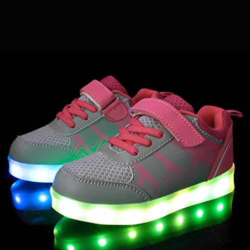 Pink Turnschuhe Aufladen Damen Sneaker Led DoGeek LED f眉r 7 Damen Kinder Schuhe Farbwechsel USB Sportschuhe Kinder Farbe Leuchtend Herren w6q0U1