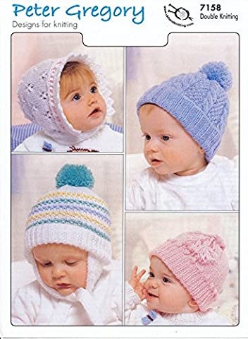 Peter Gregory Double Knitting DK Pattern - 7158 Baby's Bonnet & Hat Selection